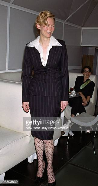 Tilda Swinton is on hand for a party at Club Spa celebrating the New York premiere of the movie 'The Deep End' Swinton stars in the film