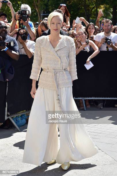Tilda Swinton is seen arriving at the 'Chanel' show during Paris Fashion Week Haute Couture Fall/Winter 20172018 on July 4 2017 in Paris France