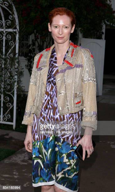 Tilda Swinton nominated for Best Supporting Actress is seen at a champagne reception to honor the British nominees of the 80th Annual Academy Awards...