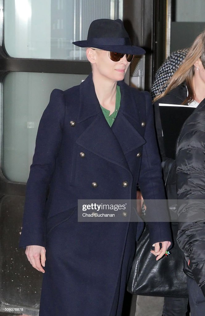 Tilda Swinton sighted arriving at Tegel Airport on February 10, 2016 in Berlin, Germany.