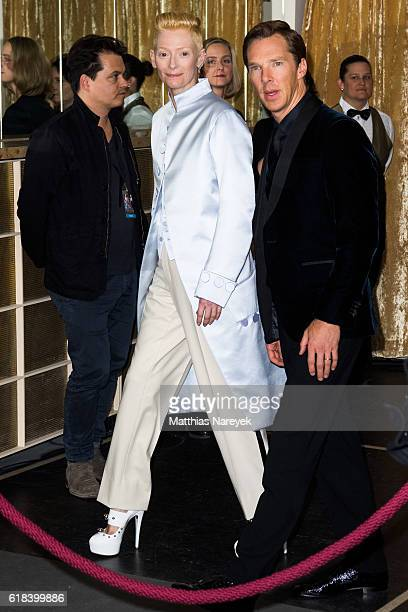 Tilda Swinton wearing Maison Margiela and Benedict Cumberbatch attend the 'Doctor Strange' fan event at Zoo Palast on October 26 2016 in Berlin...