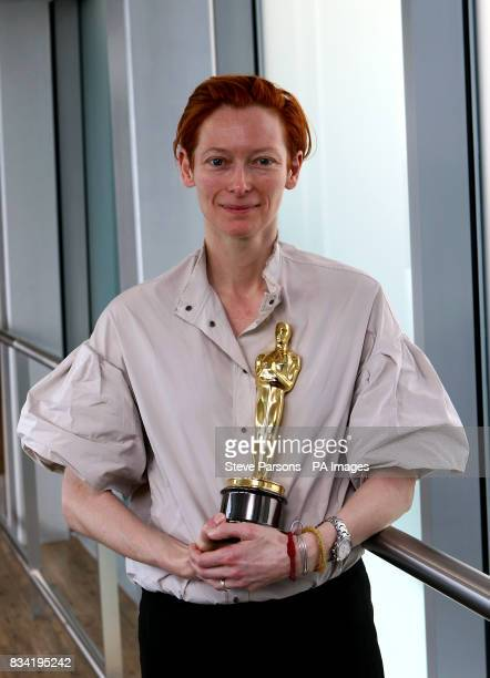 Tilda Swinton winner of the Best Supporting Actress award at the Oscars for her role in Michael Clayton arrives back in the UK at Heathrow Airport