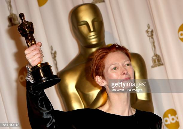 Tilda Swinton with the award for Actress in a Supporting Role received for Michael Clayton at the 80th Academy Awards at the Kodak Theatre Los Angeles