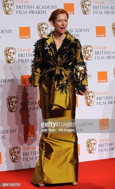 Tilda Swinton with the Best Supporting Actress award recieved for Michael Clayton during the 2008 Orange British Academy Film Awards at the Royal...