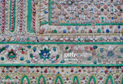 Tile Art of Thai Pagoda at Grand Palace : Stock Photo