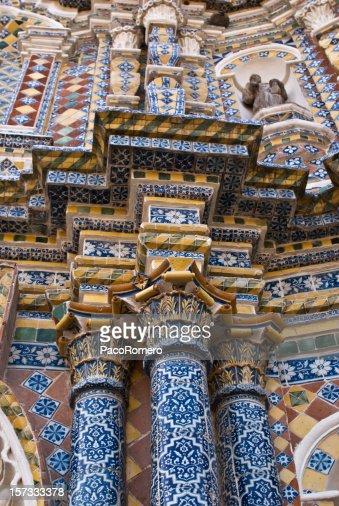 Tile facade of church in Mexico