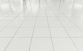 White tile floor clean condition with geometric line for background.