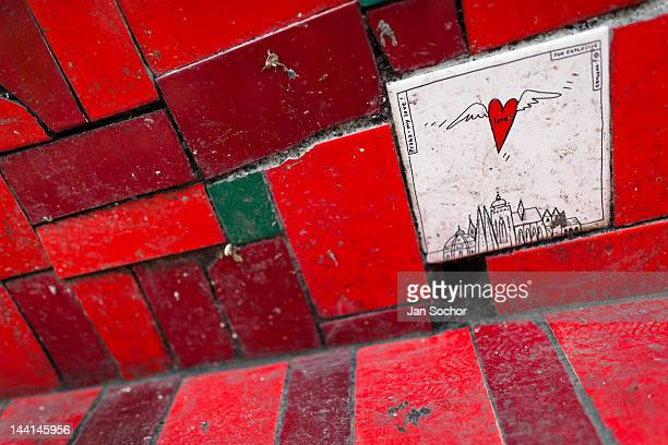 A tile from the Czech Republic seen on Selaron's Stairs a mosaic staircase made of colorful tiles on February 12 2012 in Rio de Janeiro Brazil World...