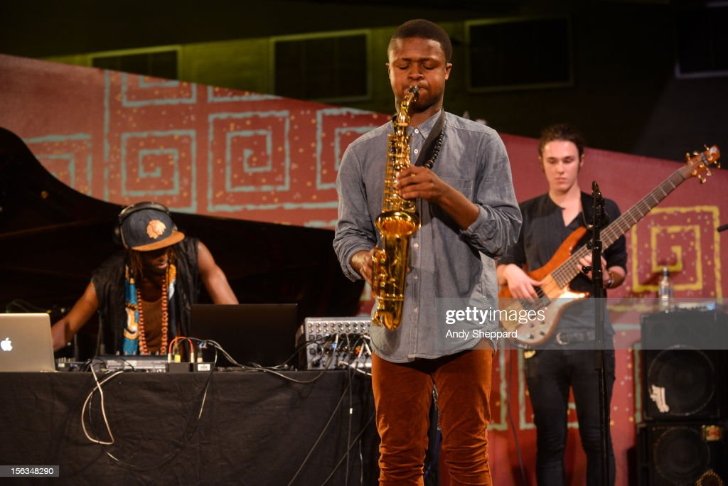 Tile Gichigi-Lipere, David Turay and Jamie Benzies of the band Psylus perform on stage during the London Jazz Festival 2012 on November 13, 2012 in London, United Kingdom.