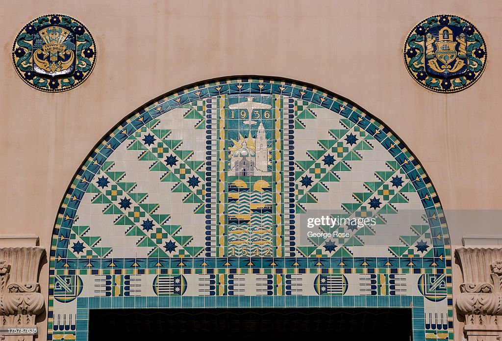 A tile mosaic decorates the entrance to the San Diego City & County Administration building on July 31, 2013, in San Diego, California. San Diego, the eighth largest city in the United States and second largest in California, is home to the U.S. Navy and known for its extensive beaches and mild year-round climate.