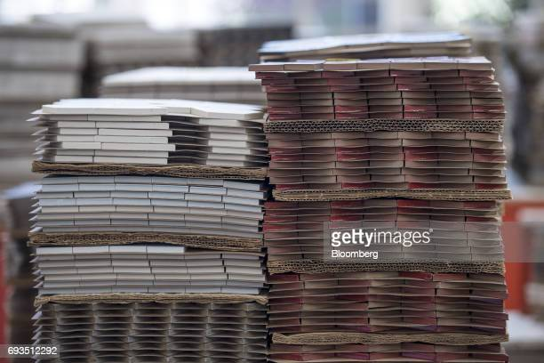 Tile pieces sit stacked at the Heath Ceramics Ltd production facility in San Francisco California US on Friday June 2 2017 The US Census Bureau is...