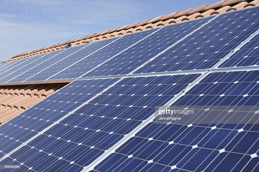 Tile Roof Solar Panels : Stock Photo
