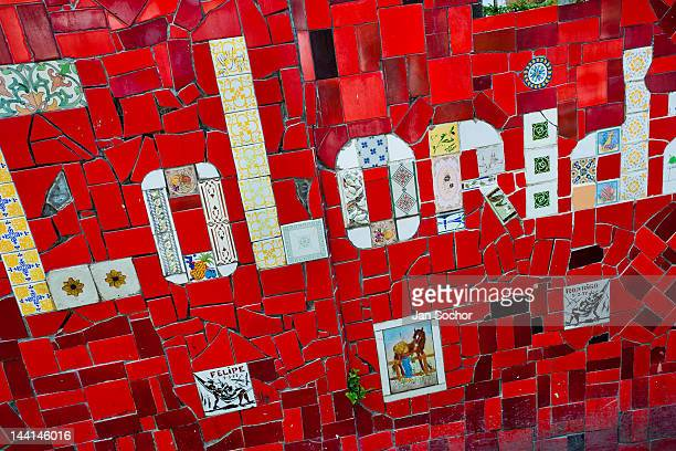 A tile writing 'Colorida' seen on Selaron's Stairs a mosaic staircase made of colorful tiles on February 12 2012 in Rio de Janeiro Brazil World...
