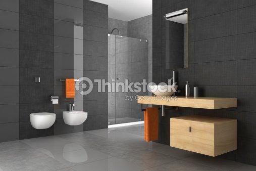 Salle de bain carrel e avec des meubles en bois photo - Salle de bain carrelee ...