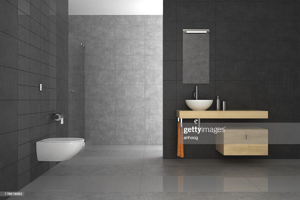 Bagno in piastrelle e arredi in legno foto stock thinkstock