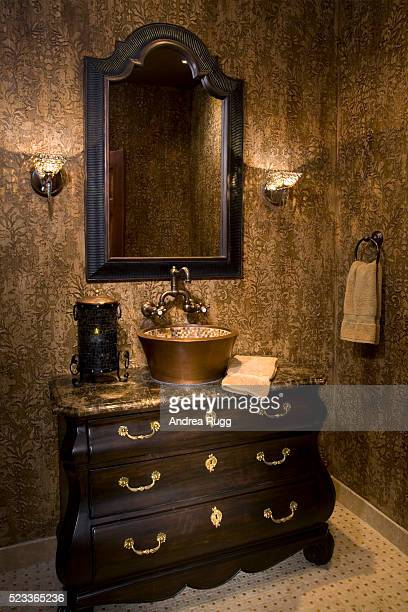 Tiled Copper Bowl Sink on Vanity
