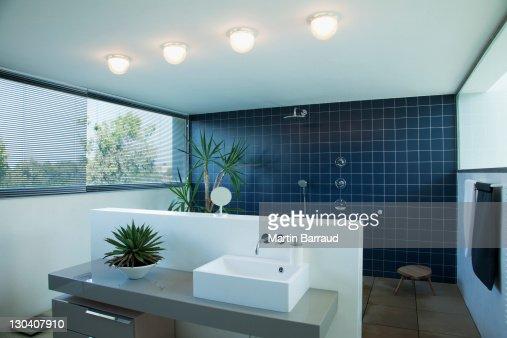 Tiled Open Shower In Modern Bathroom Stock