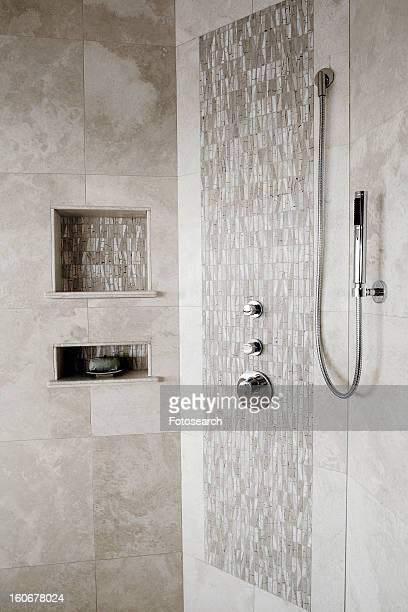 Tiled shower and shower head