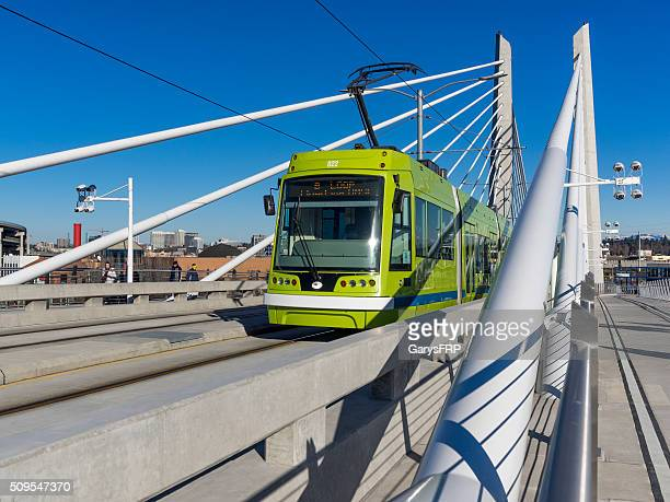 Tilikum Crossing Bridge with Portland Streetcar Train Downtown Portland Oregon