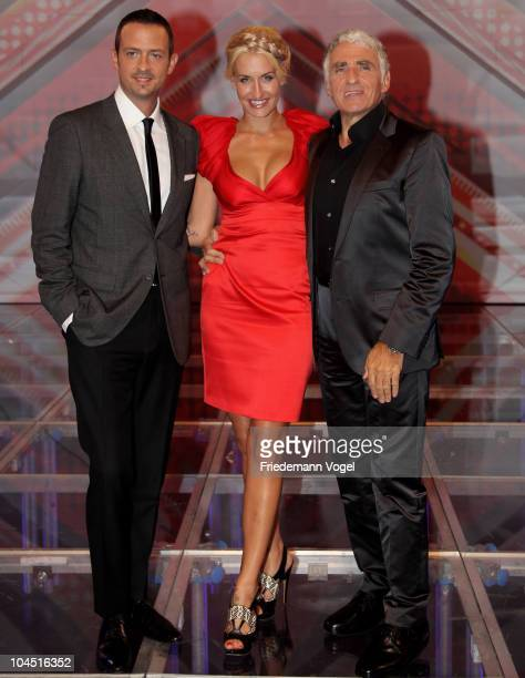 Till Broenner Sarah Connor and George Glueck pose during the X Factor Live show on September 28 2010 in Cologne Germany
