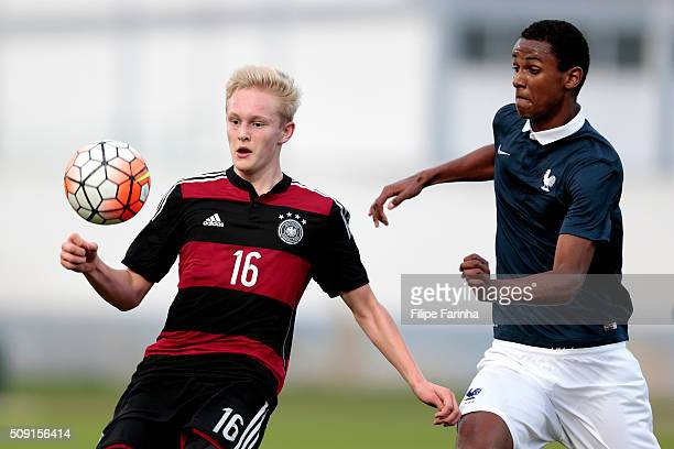 Till Cisskho of France challenges Julian Rieckmann of Germany during the UEFA Under16 match between U16 France v U16 Germany on February 6 2016 in...