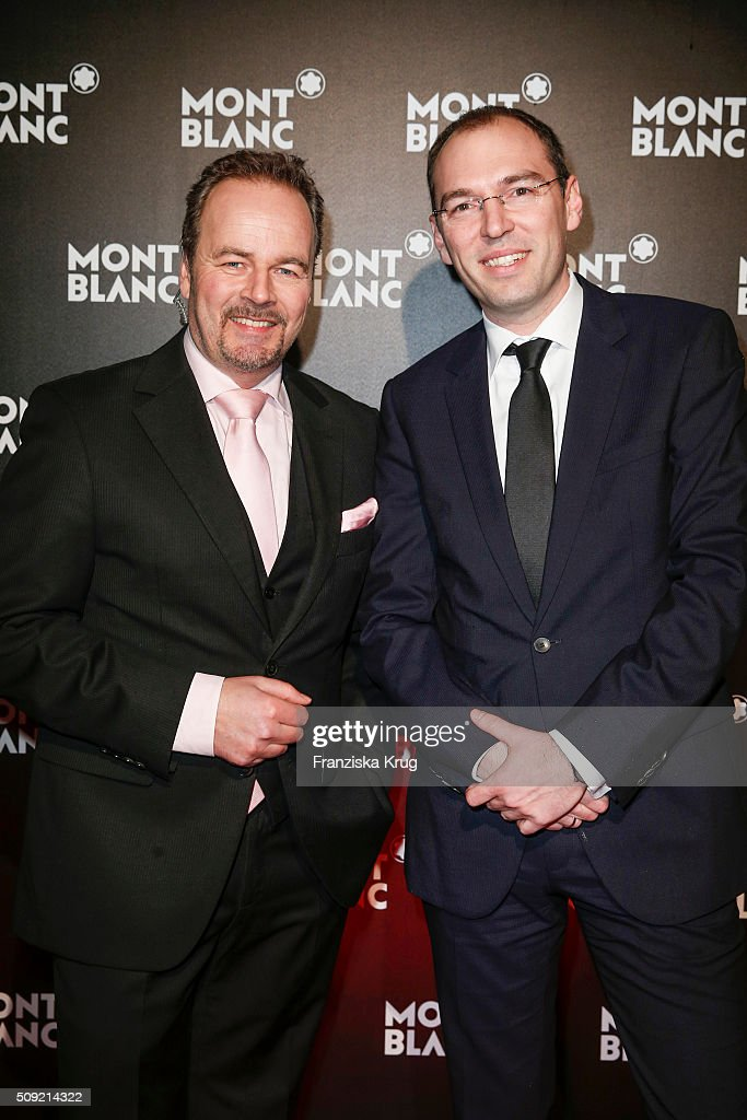 Till Demtroeder and Oliver Goessler attend the Montblanc House Opening on February 09, 2016 in Hamburg, Germany.