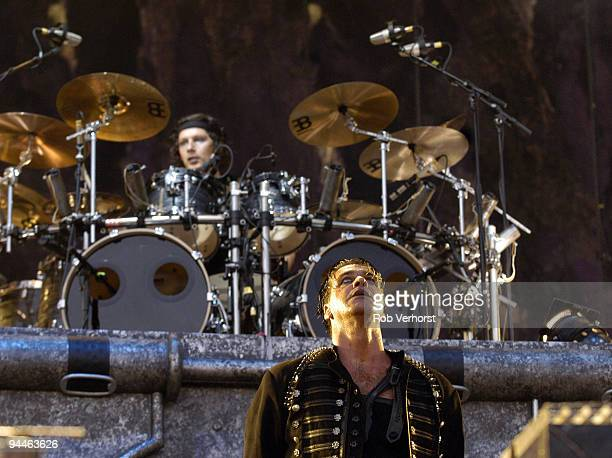Till Lindemann and drummer Christoph 'Doom' Schneider from Rammstein perform live on stage at The Fields of Rock Festival at Nijmegen Holland on June...