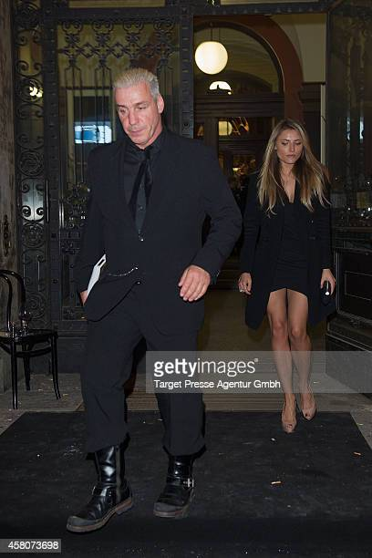 Till Lindemann of the band Rammstein and Sophia Thomalla leave the 10th anniversary celebration of the Zoo Magazine at Naturkundemuseum on October 29...