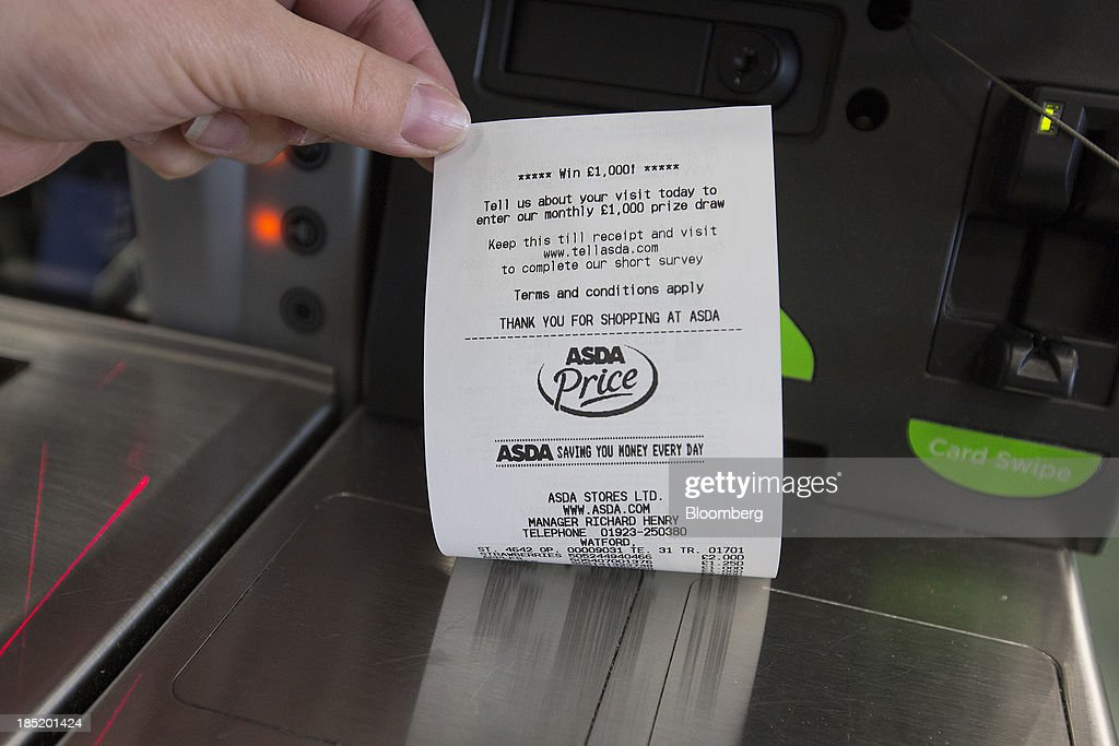 A till receipt is displayed for a photograph at an self-service check-out desk inside an Asda supermarket, the U.K. retail arm of Wal-Mart Stores Inc., in Watford, U.K., on Thursday, Oct. 17, 2013. U.K. retail sales rose more than economists forecast in September as an increase in furniture demand led a rebound from a slump the previous month. Photographer: Simon Dawson/Bloomberg via Getty Images