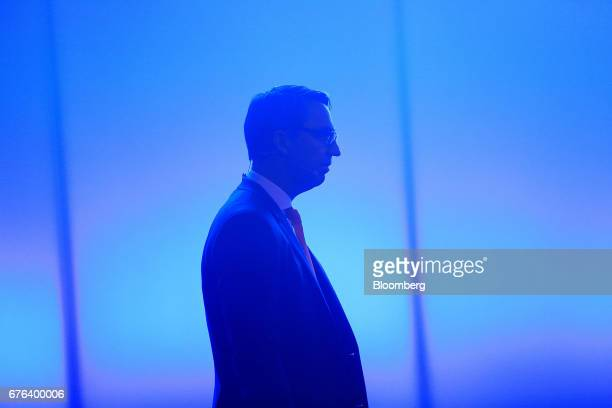 Till Reuter chief executive officer of Kuka AG arrives for the B20 Summit a business forum linked to Germany's G20 presidency in Berlin Germany on...