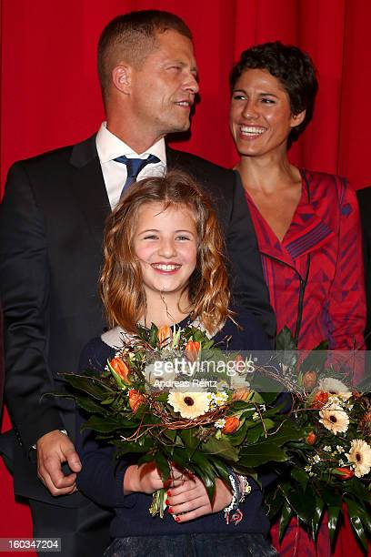 Till Schweiger Emma Schweiger and Jasmin Gerat attend 'Kokowaeaeh 2' Germany Premiere at Cinestar Potsdamer Platz on January 29 2013 in Berlin Germany