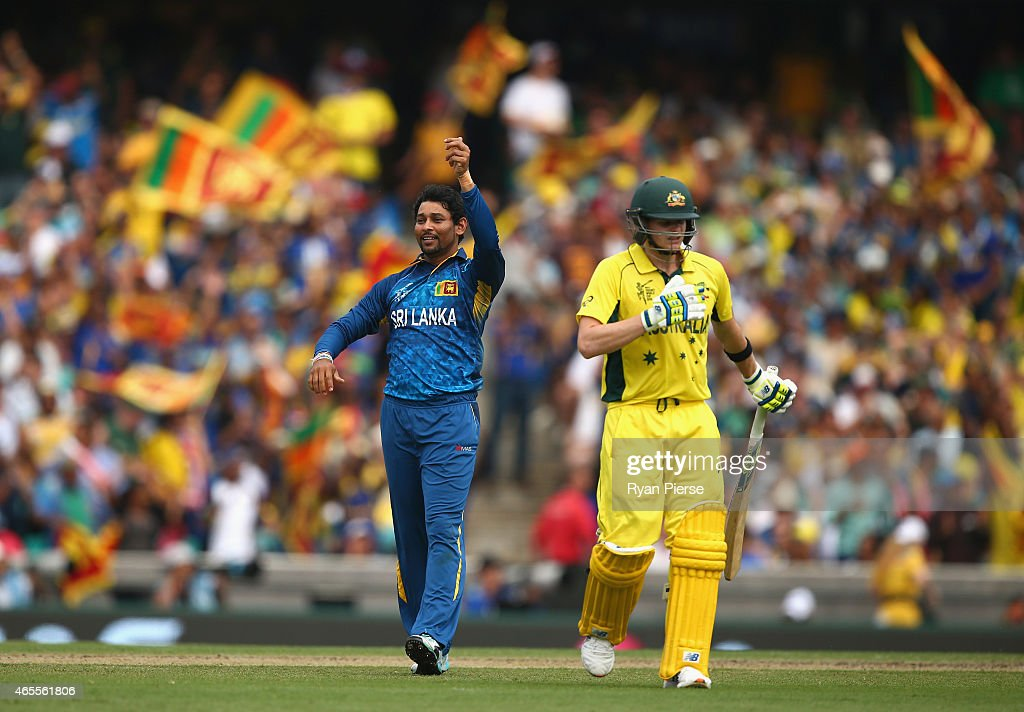 <a gi-track='captionPersonalityLinkClicked' href=/galleries/search?phrase=Tillakaratne+Dilshan&family=editorial&specificpeople=239186 ng-click='$event.stopPropagation()'>Tillakaratne Dilshan</a> and <a gi-track='captionPersonalityLinkClicked' href=/galleries/search?phrase=Angelo+Mathews&family=editorial&specificpeople=5622021 ng-click='$event.stopPropagation()'>Angelo Mathews</a> of Sri Lanka celebrates after Dilshan took the wicket of Steve Smith of Australia during the 2015 ICC Cricket World Cup match between Australia and Sri Lanka at Sydney Cricket Ground on March 8, 2015 in Sydney, Australia.