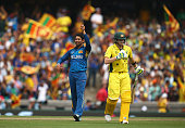 Tillakaratne Dilshan and Angelo Mathews of Sri Lanka celebrates after Dilshan took the wicket of Steve Smith of Australia during the 2015 ICC Cricket...