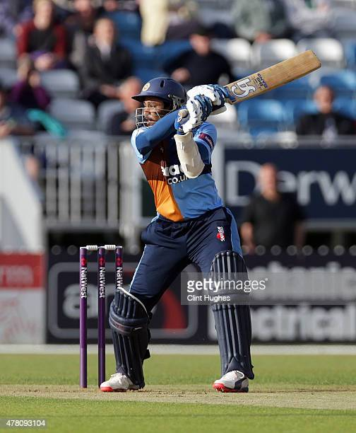 Tillakaratne Dilshan of Derbyshire Falcons in action during the Natwest T20 Blast match between Derbyshire Falcons and Leicestershire Foxes at the...