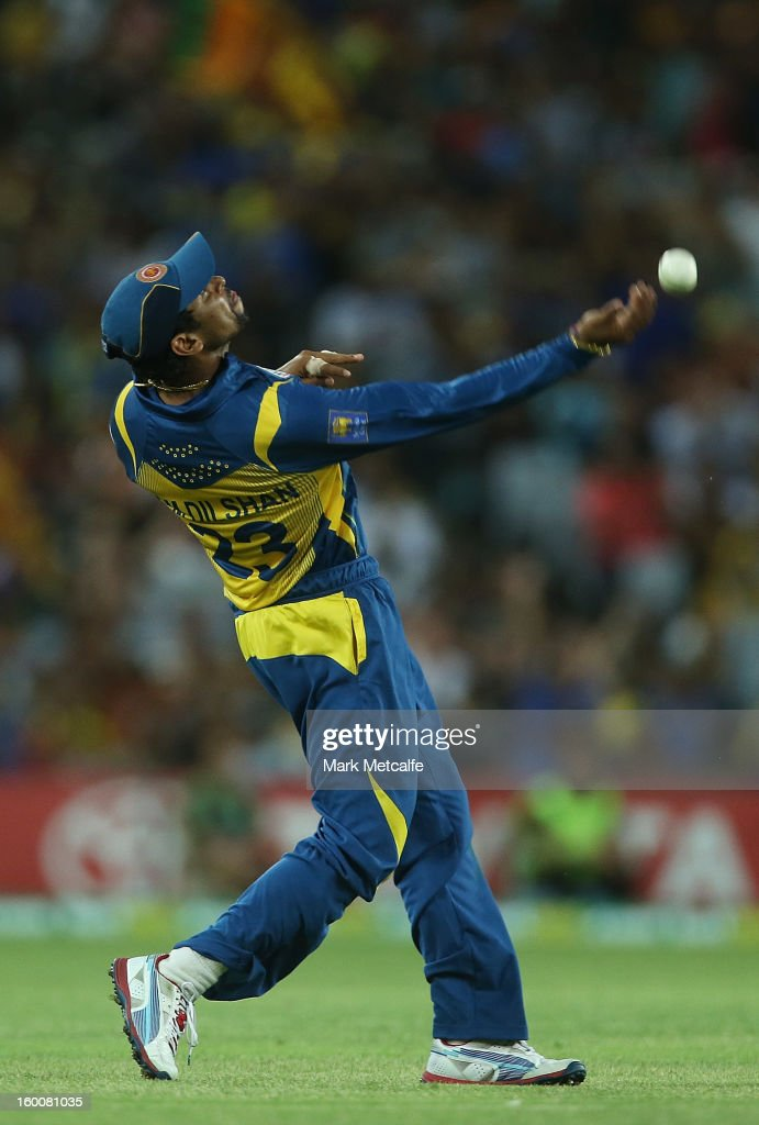<a gi-track='captionPersonalityLinkClicked' href=/galleries/search?phrase=Tillakaratne+Dilshan&family=editorial&specificpeople=239186 ng-click='$event.stopPropagation()'>Tillakaratne Dilshan</a> of of Sri Lanka celebrates taking a catch to dismiss George Bailey of Australia during game one of the Twenty20 international match between Australia and Sri Lanka at ANZ Stadium on January 26, 2013 in Sydney, Australia.