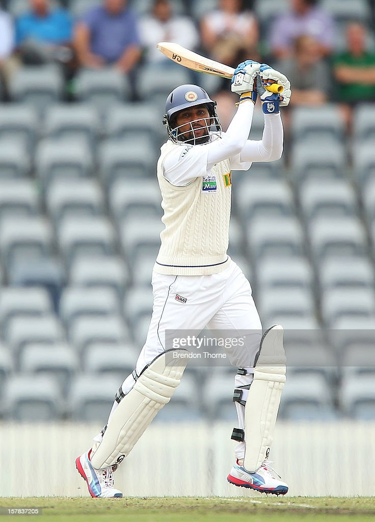 <a gi-track='captionPersonalityLinkClicked' href=/galleries/search?phrase=Tillakaratne+Dilshan&family=editorial&specificpeople=239186 ng-click='$event.stopPropagation()'>Tillakaratne Dilshan</a> of Sri Lanka bats during day two of the international tour match between the Chairman's XI and Sri Lanka at Manuka Oval on December 7, 2012 in Canberra, Australia.
