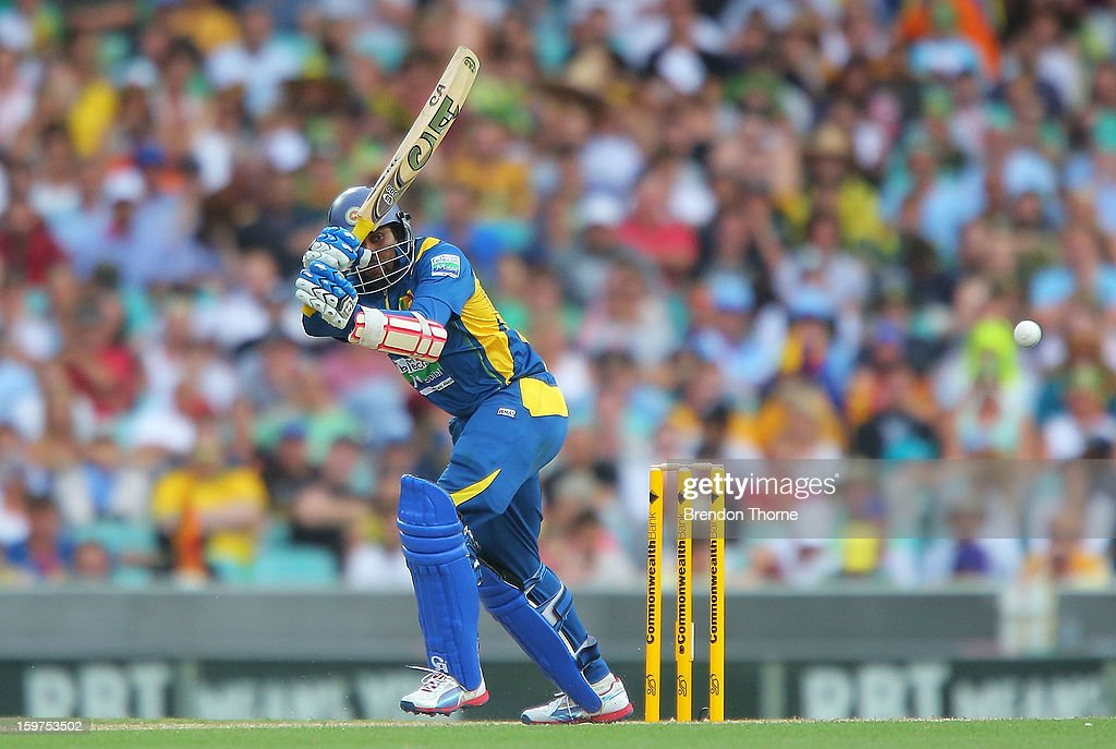 Tillakaratne Dilshan of Sri Lanka bats during game four of the Commonwealth Bank one day international series between Australia and Sri Lanka at Sydney Cricket Ground on January 20, 2013 in Sydney, Australia.
