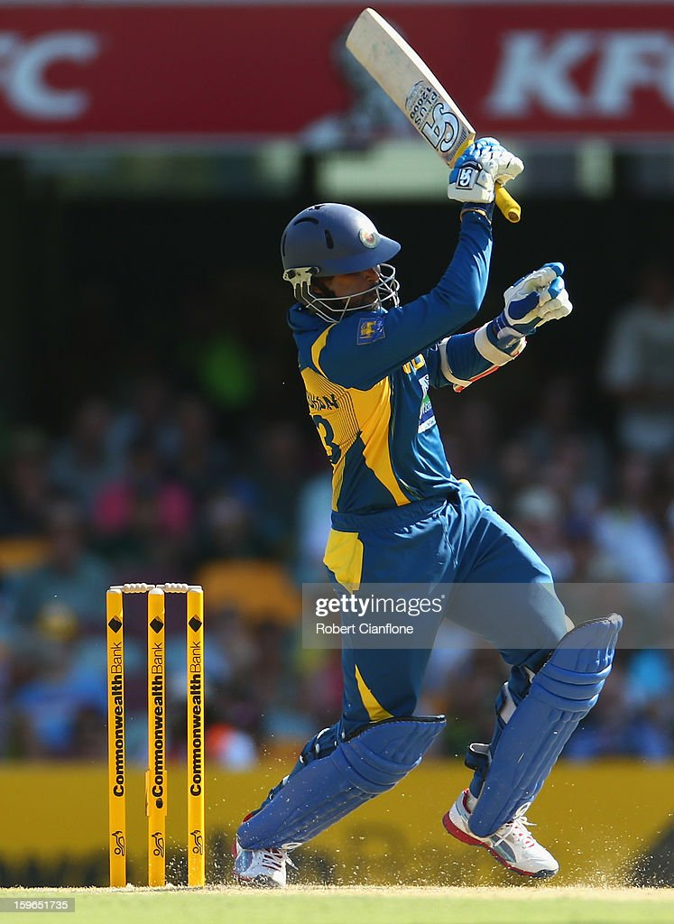 Tillakaratne Dilshan of Sri Lanka bats during game three of the Commonwealth Bank One Day International Series between Australia and Sri Lanka at The Gabba on January 18, 2013 in Brisbane, Australia.