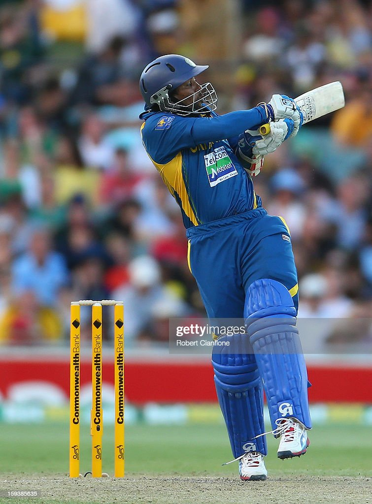 Tillakaratne Dilshan of Sri Lanka bats during game two of the Commonwealth Bank One Day International series between Australia and Sri Lanka at Adelaide Oval on January 13, 2013 in Adelaide, Australia.