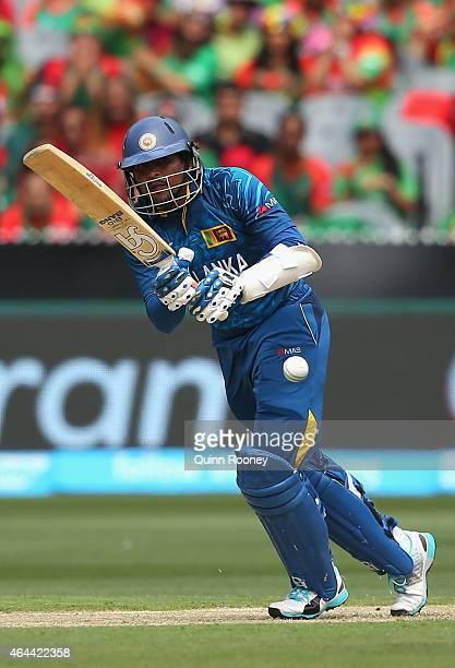 Tillakaratne Dilshan of Sri Lanka bats during the 2015 ICC Cricket World Cup match between Sri Lanka and Bangladesh at Melbourne Cricket Ground on...