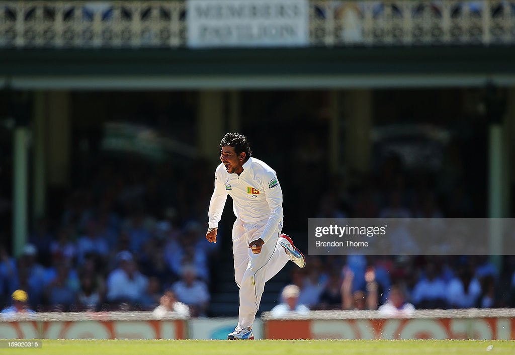 Tillakaratne Dilshan of Sri Lanka celebrates after claiming the wicket of Michael Clarke of Australia during day four of the Third Test match between Australia and Sri Lanka at the Sydney Cricket Ground on January 6, 2013 in Sydney, Australia.