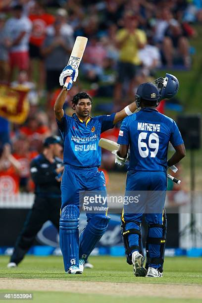 Tillakaratne Dilshan of Sri Lanka celebrates his century during the One Day International match between New Zealand and Sri Lanka at Seddon Park on...