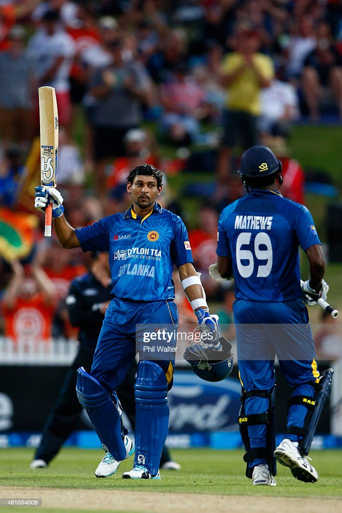 <a gi-track='captionPersonalityLinkClicked' href=/galleries/search?phrase=Tillakaratne+Dilshan&family=editorial&specificpeople=239186 ng-click='$event.stopPropagation()'>Tillakaratne Dilshan</a> of Sri Lanka celebrates his century during the One Day International match between New Zealand and Sri Lanka at Seddon Park on January 15, 2015 in Hamilton, New Zealand.