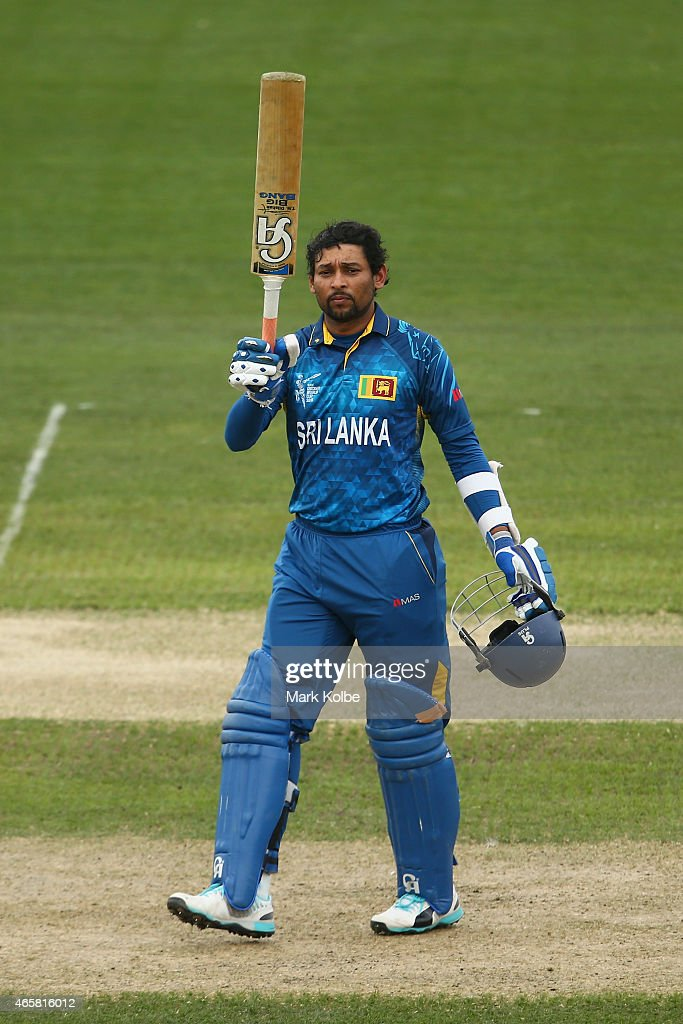 <a gi-track='captionPersonalityLinkClicked' href=/galleries/search?phrase=Tillakaratne+Dilshan&family=editorial&specificpeople=239186 ng-click='$event.stopPropagation()'>Tillakaratne Dilshan</a> of Sri Lanka celebrates his century uring the 2015 Cricket World Cup match between Sri Lanka and Scotland at Bellerive Oval on March 11, 2015 in Hobart, Australia.
