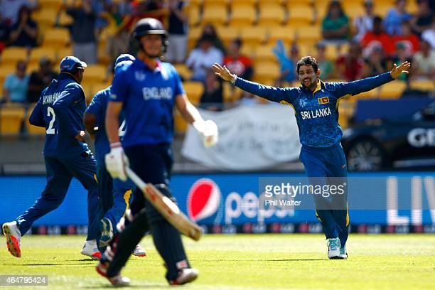 Tillakaratne Dilshan of Sri Lanka celebrates his wicket of Gary Ballance of England during the 2015 ICC Cricket World Cup match between England and...