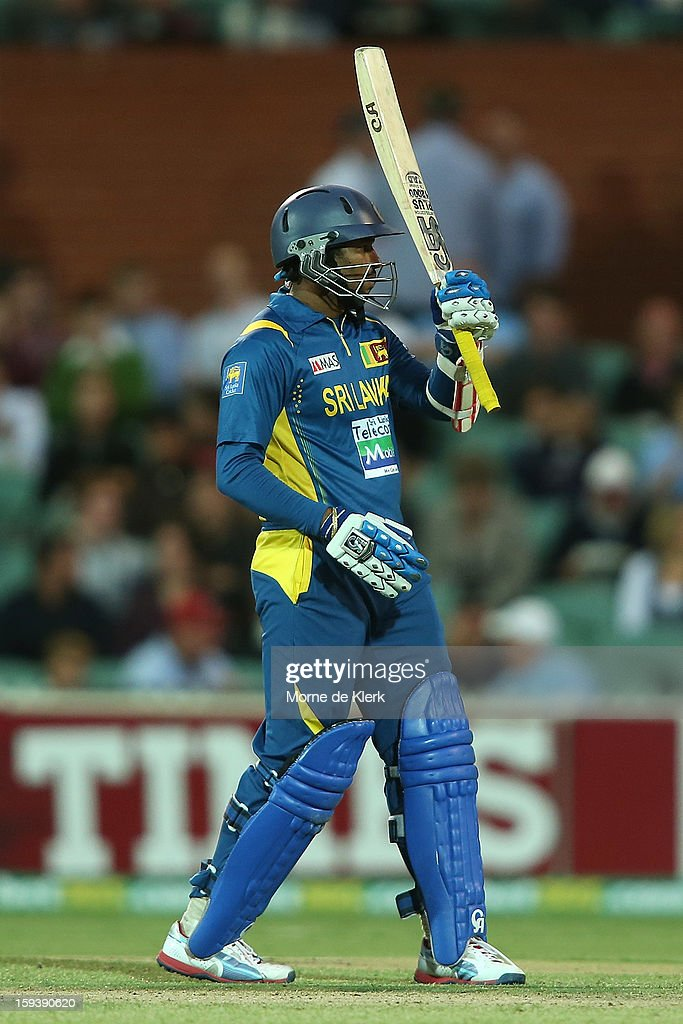 Tillakaratne Dilshan of Sri Lanka celebrates reaching 50 runs during game two of the Commonwealth Bank One Day International series between Australia and Sri Lanka at Adelaide Oval on January 13, 2013 in Adelaide, Australia.