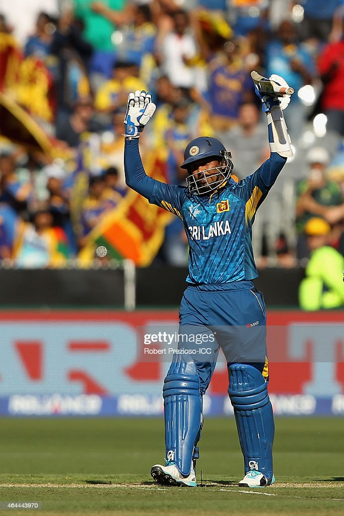 <a gi-track='captionPersonalityLinkClicked' href=/galleries/search?phrase=Tillakaratne+Dilshan&family=editorial&specificpeople=239186 ng-click='$event.stopPropagation()'>Tillakaratne Dilshan</a> of Sri Lanka celebrates scoring his century during the 2015 ICC Cricket World Cup match between Sri Lanka and Bangladesh at Melbourne Cricket Ground on February 26, 2015 in Melbourne, Australia.