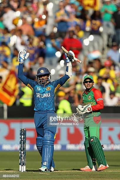 Tillakaratne Dilshan of Sri Lanka celebrates scoring his century during the 2015 ICC Cricket World Cup match between Sri Lanka and Bangladesh at...