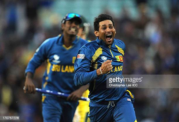 Tillakaratne Dilshan of Sri Lanka celebrates taking the final wicket of Clint McKay of Australia and winning the match during the ICC Champions...