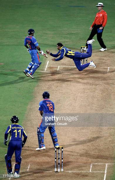 Tillakaratne Dilshan of Sri Lanka dives to take a catch off his own bowling to dismiss Virat Kohli of India during the 2011 ICC World Cup Final...